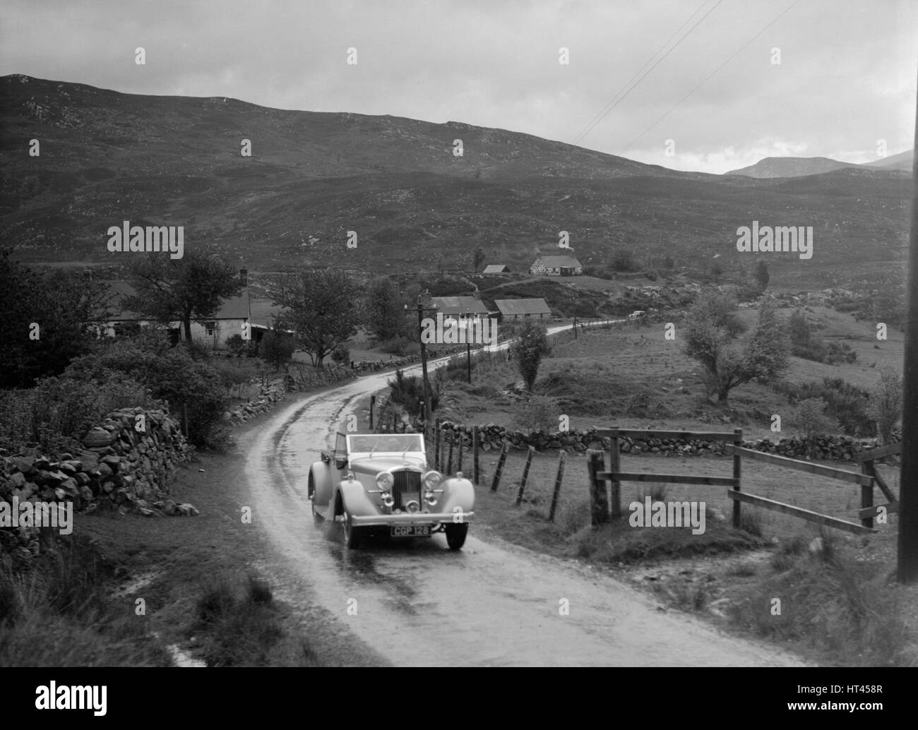 Talbot of D Melvin competing inthe RSAC Scottish Rally, 1936. Artist: Bill Brunell. - Stock Image