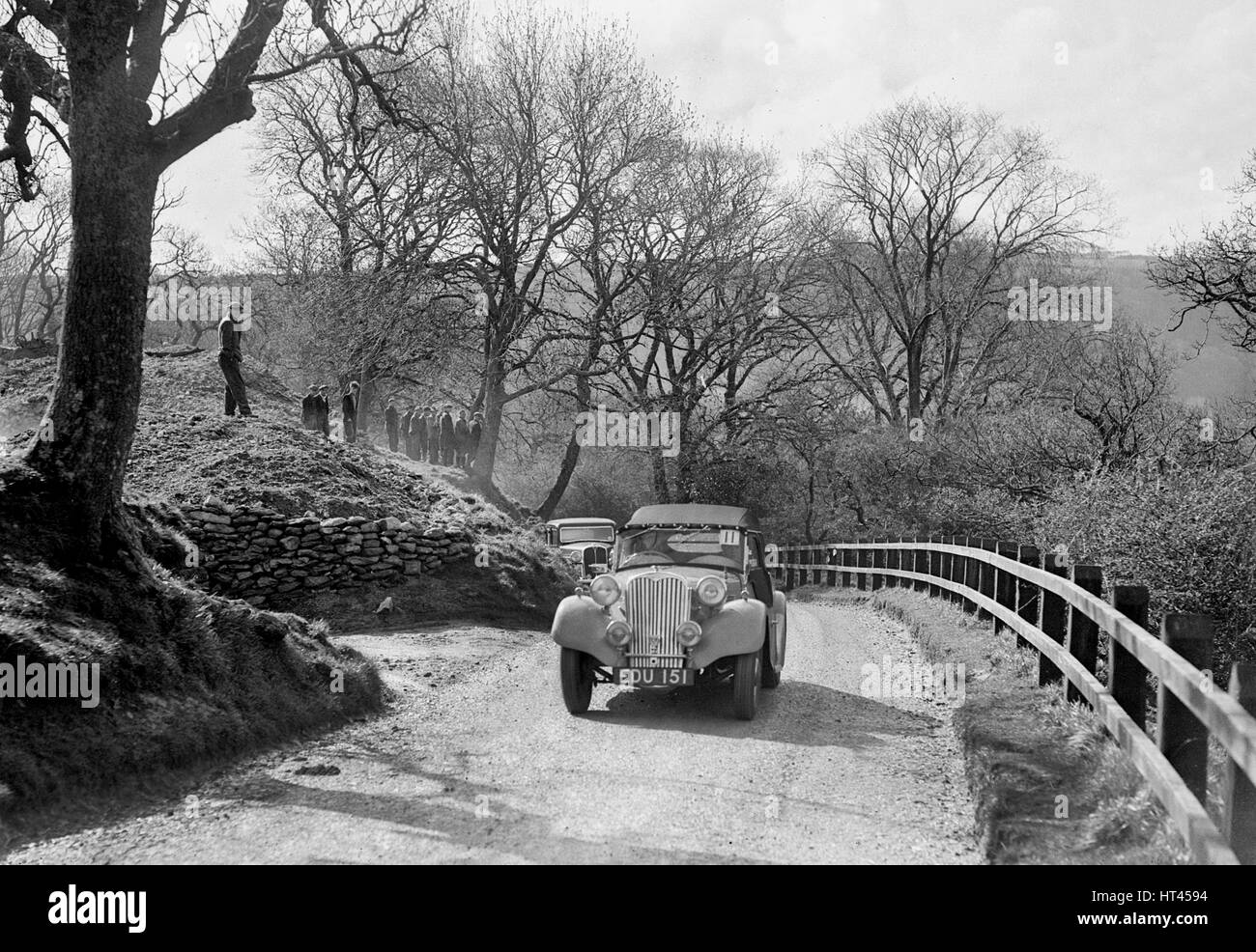 Kay Petre's Singer Nine competing in the RAC Rally, 1939. Artist: Bill Brunell. - Stock Image