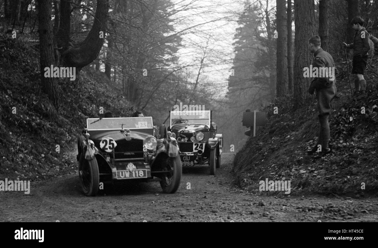 SD Marr's Tracta open sports and R Peaty's Singer open 4-seater at the JCC Half-Day Trial, 1930. Artist: - Stock Image