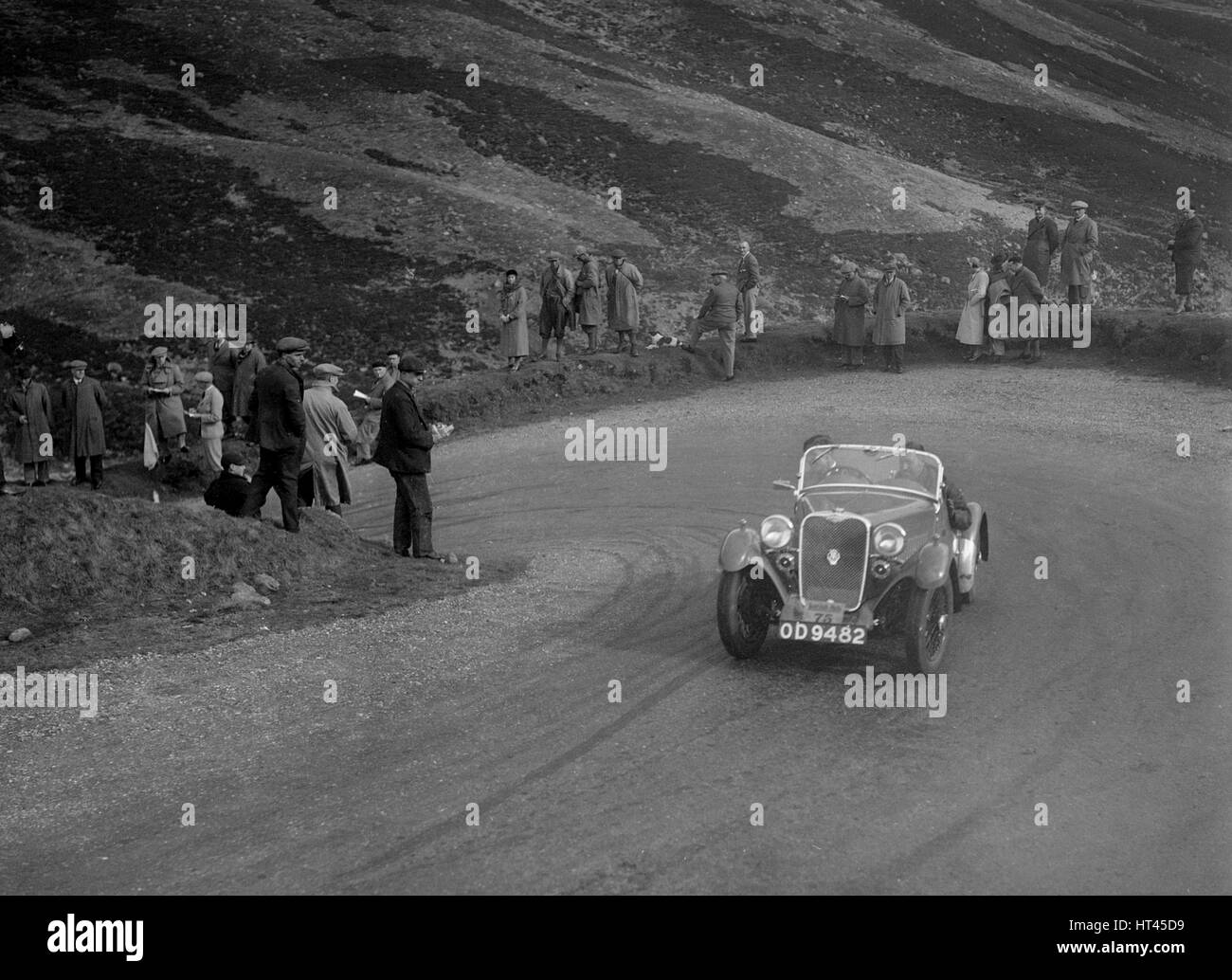 Singer Le Mans competing in the RSAC Scottish Rally, Devil's Elbow, Glenshee, 1934. Artist: Bill Brunell. - Stock Image