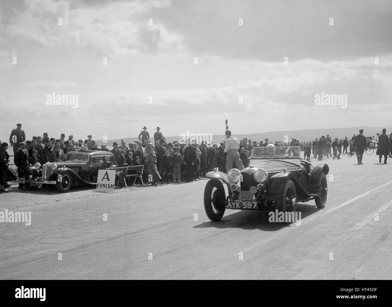 Riley Imp 2-seater of Dorothy Champney competing in the RSAC Scottish Rally, 1934. Artist: Bill Brunell. - Stock Image