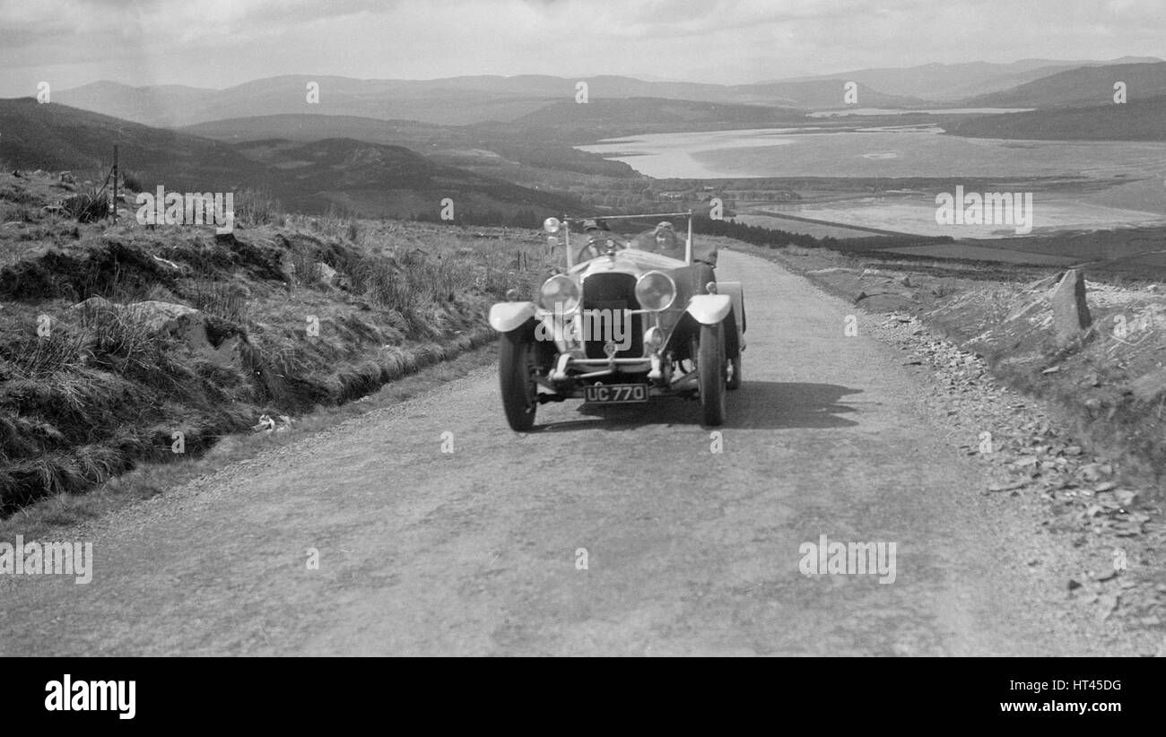 Vauxhall 30/98 of G Warburton competing in the RSAC Scottish Rally, 1934. Artist: Bill Brunell. - Stock Image