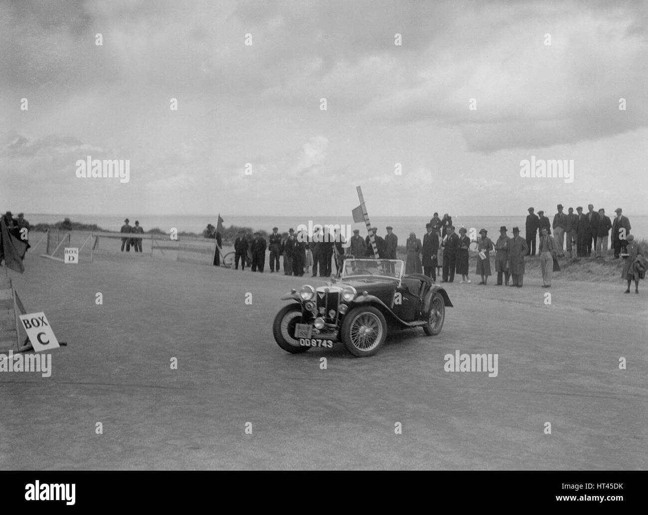 MG PA of Miss E Violet Watson competing in the RSAC Scottish Rally, 1934. Artist: Bill Brunell. - Stock Image
