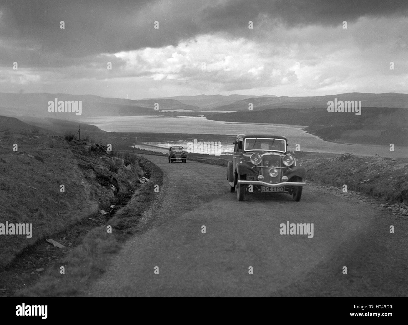 Sunbeam saloon of AA Smith competing in the RSAC Scottish Rally, 1934. Artist: Bill Brunell. - Stock Image