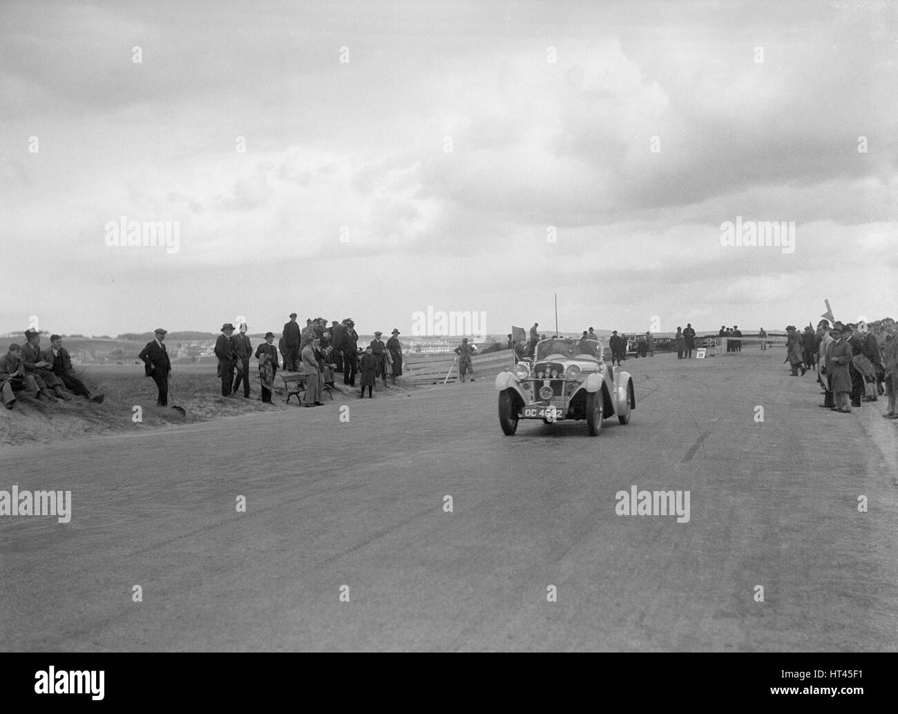 Singer Le Mans of Archie Langley competing in the RSAC Scottish Rally, 1934. Artist: Bill Brunell. - Stock Image