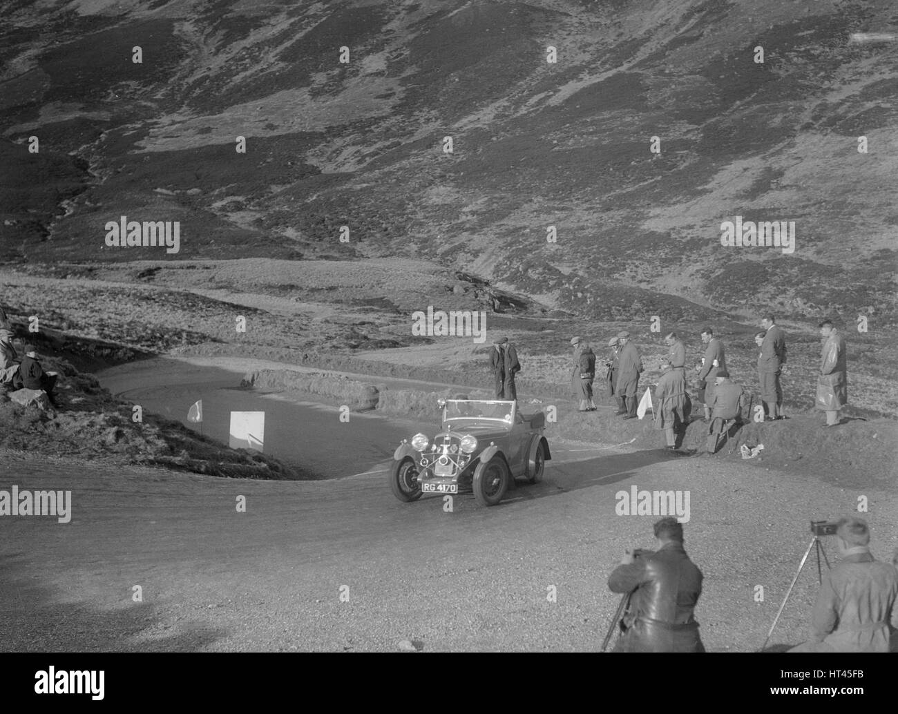 Wolseley Hornet of GF Collie competing in the RSAC Scottish Rally, Devil's Elbow, Glenshee, 1934. Artist: Bill - Stock Image