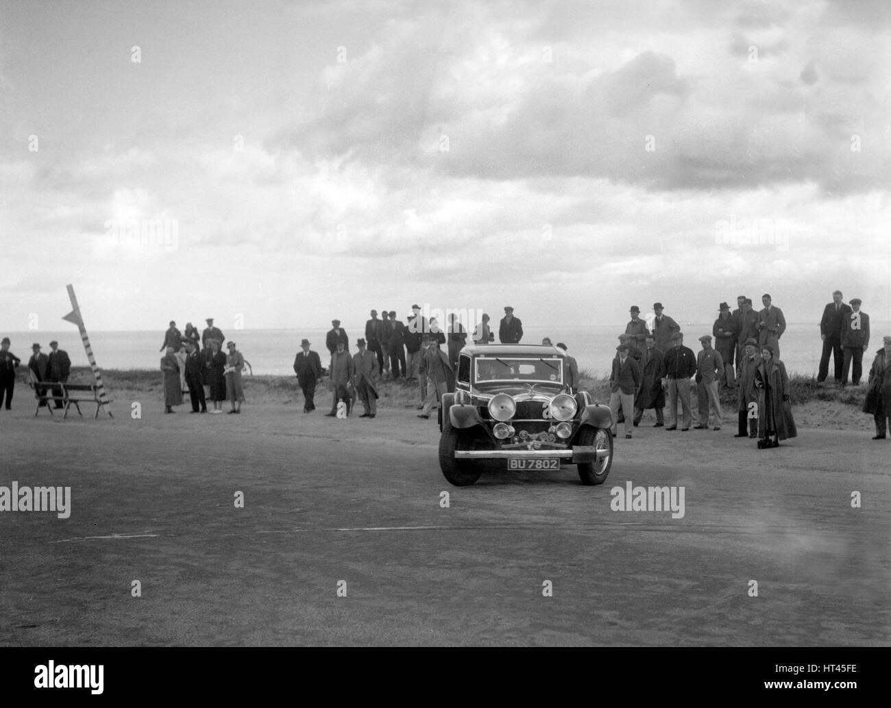 Alvis Speed Twenty saloon competing in the RSAC Scottish Rally, 1934. Artist: Bill Brunell. - Stock Image