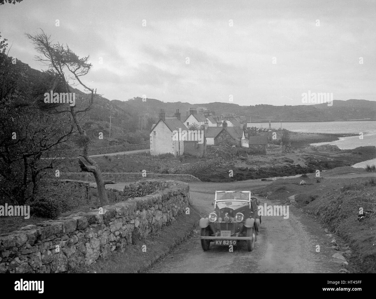 Triumph open tourer of Joan Richmond competing in the RSAC Scottish Rally, 1934. Artist: Bill Brunell. - Stock Image