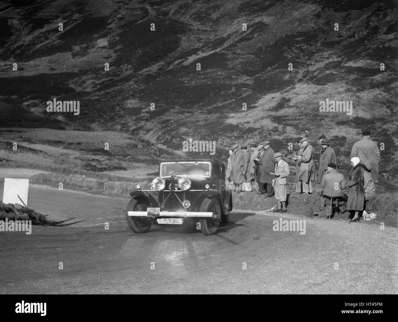 Talbot saloon competing in the RSAC Scottish Rally, Devil's Elbow, Glenshee, 1934. Artist: Bill Brunell. - Stock Image