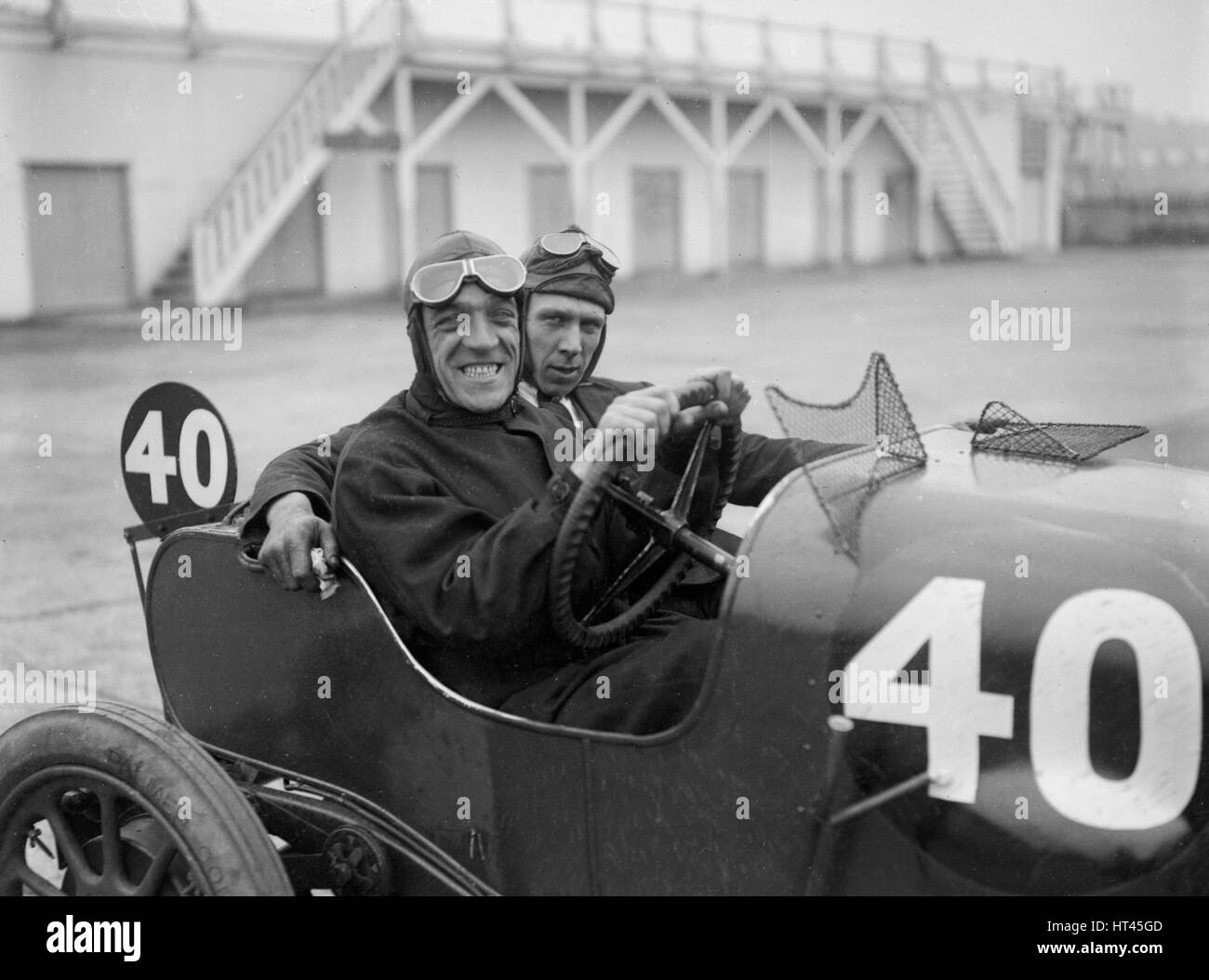 BS Marshall in his Aston Martin at the JCC 200 Mile Race, Brooklands, Surrey, 1921. Artist: Bill Brunell. Stock Photo