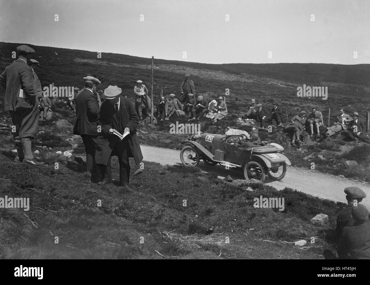 Amilcar open 2-seater of AE Bull competing in the Scottish Light Car Trial, 1922. Artist: Bill Brunell. - Stock Image