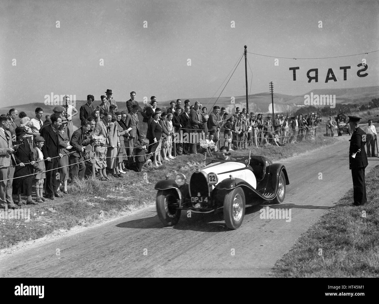 Bugatti Type 55 of CI Craig competing at the Bugatti Owners Club Lewes Speed Trials, Sussex, 1937. Artist: Bill - Stock Image