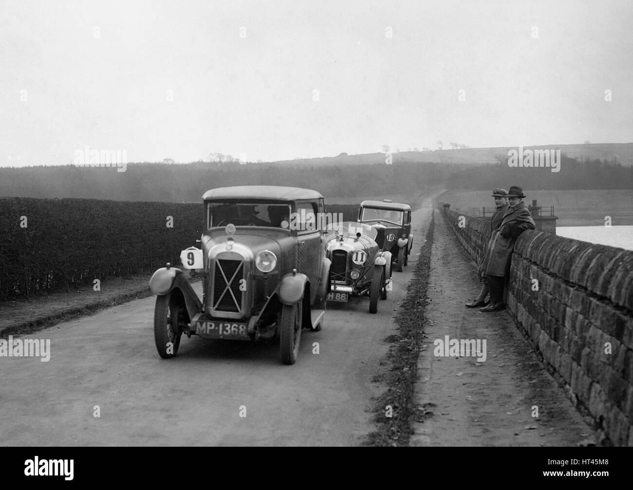 Salmson, Amilcar and Riley 9, Ilkley & District MC Trial, Fewston Reservoir, Yorkshire, 1930s. Artist: Bill - Stock Image