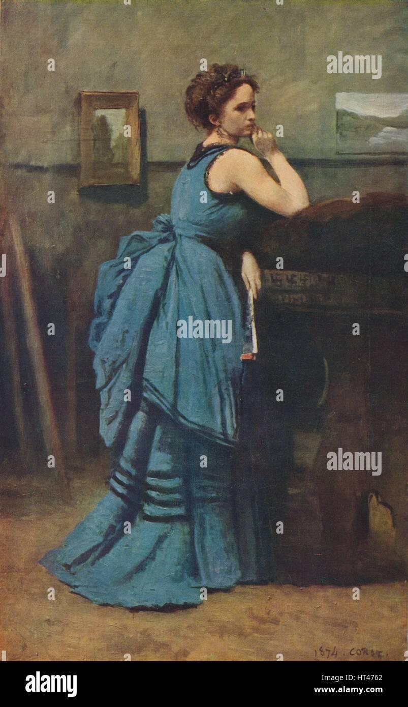 'Femme en bleu', 1874, (1939). Artist: Jean-Baptiste-Camille Corot. - Stock Image