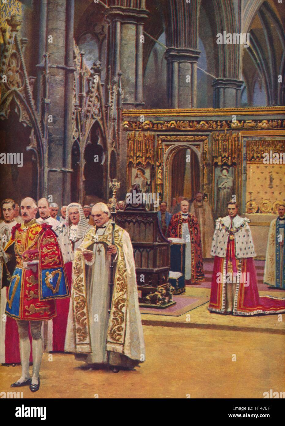 ''The Recognition: The King Stands Before the Assembly, presented by the Archbishop', 1937. Artist: - Stock Image