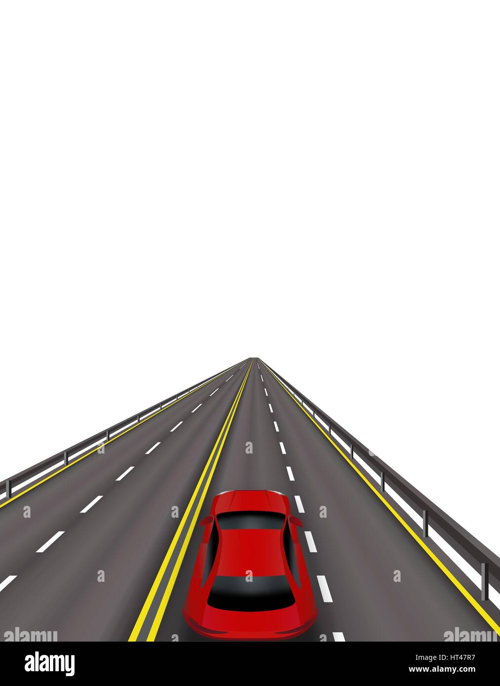 High-speed highway. Red cars on the road . In perspective. Isolated on white background. illustration - Stock Image