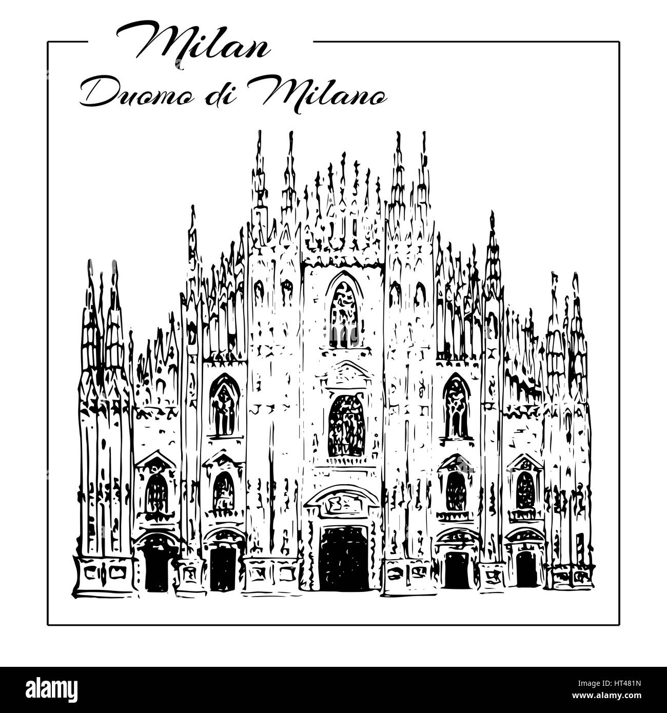 Duomo di Milano. Italy sightseeing. Main cathedral in Milan. Hand drawn sketch illustration. Can be used at advertising, - Stock Image