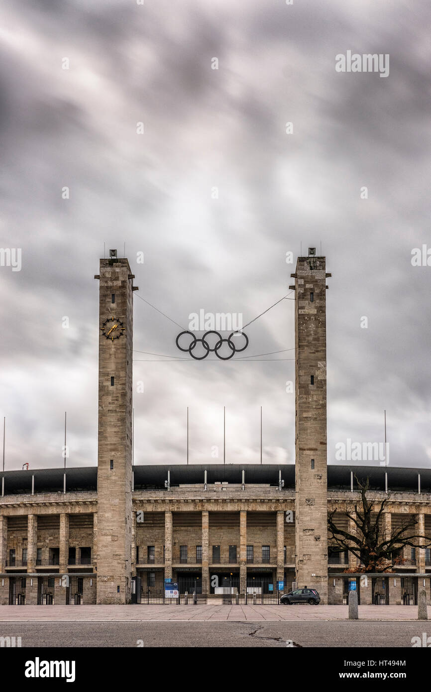 Berlin,Germany,The Olimpia Stadion (Olimpic Stadium) ,exterior vertical - Stock Image