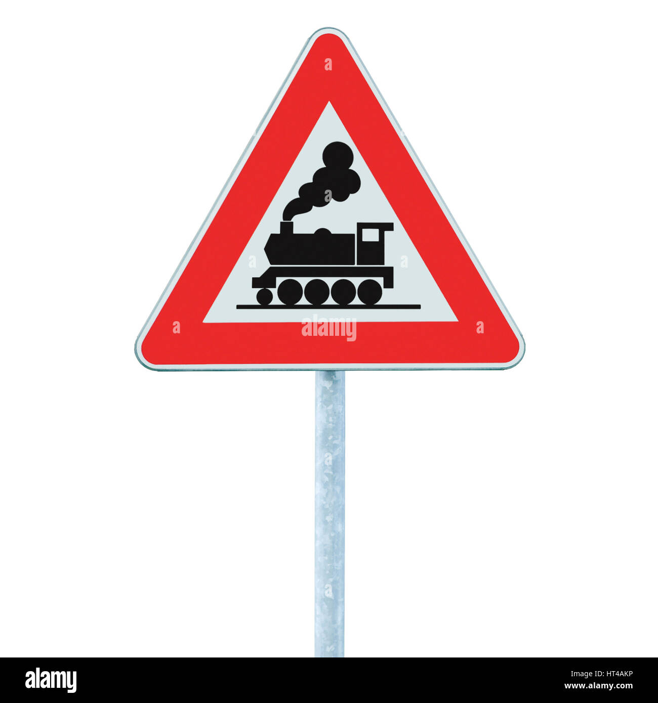 Railroad Level Crossing Road Sign without barrier or gate ahead the road, beware of train roadside signage, roadsign - Stock Image