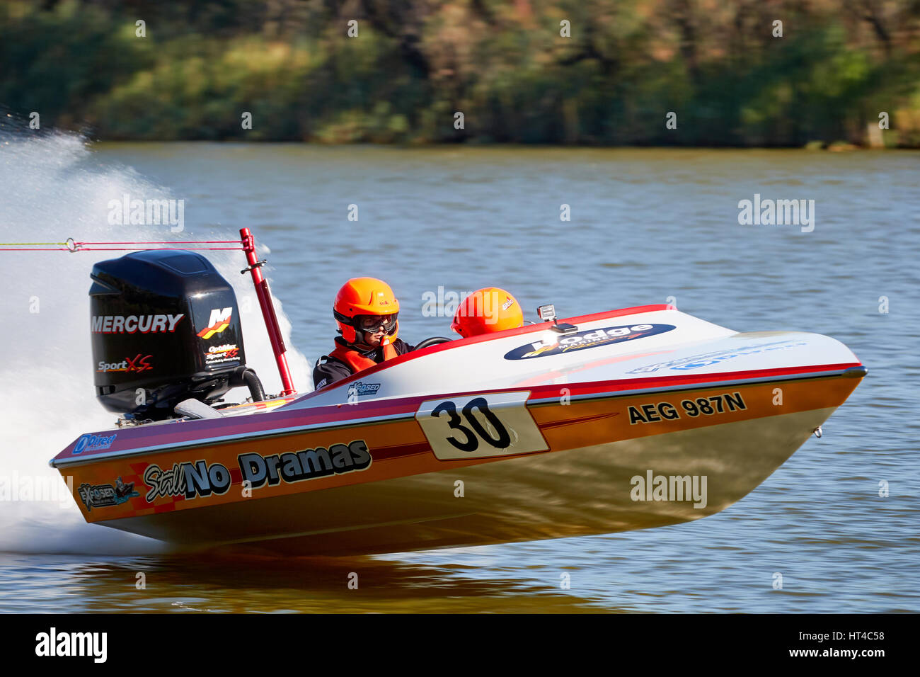 Still No Dramas, competing in the 2017 Ted Hurley Memorial Classic ski race. Held on the Darling and Murray rivers - Stock Image