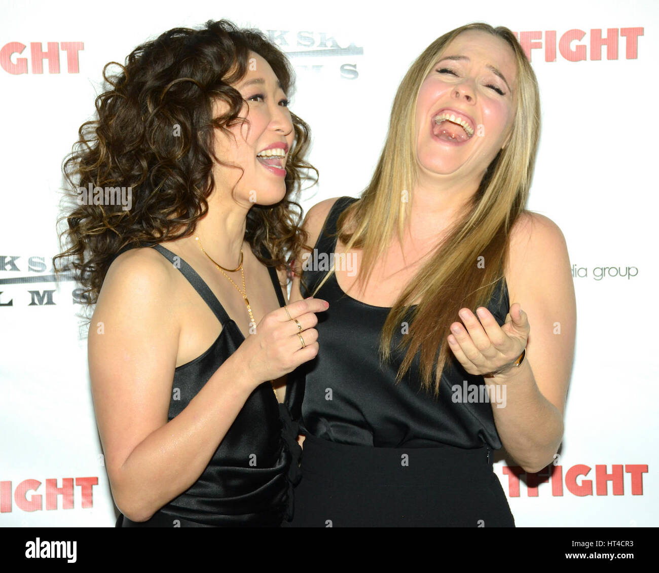 Sandra Oh and Alicia Silverstone attends the premiere of Dark Sky Films' 'Catfight' at Cinefamily on - Stock Image