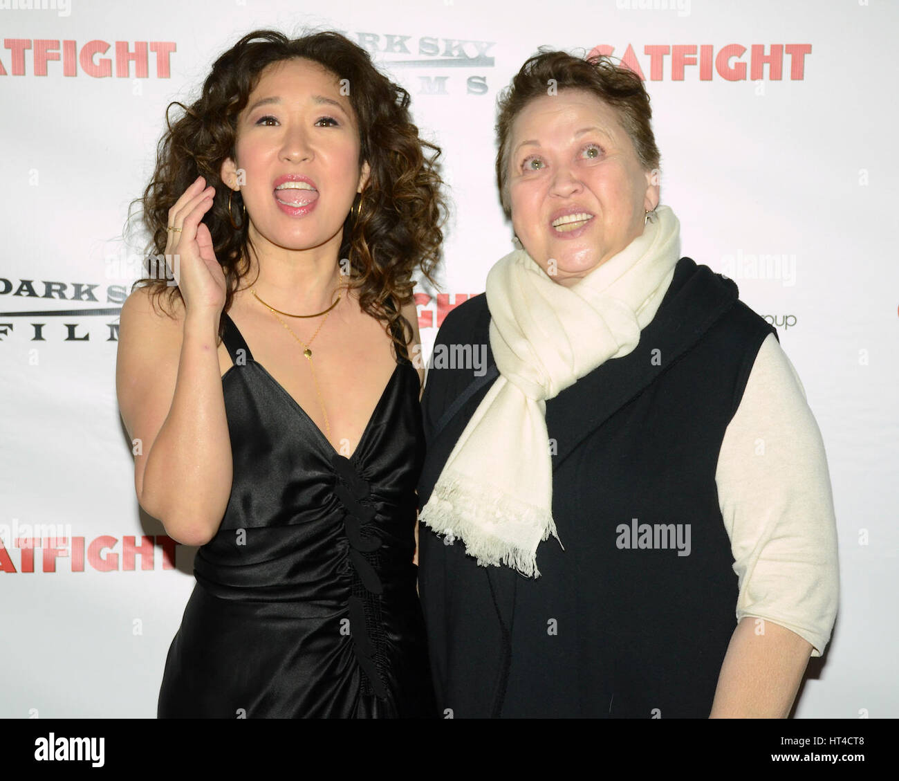 Sandra Oh and Amy Hill attends the premiere of Dark Sky Films' 'Catfight' at Cinefamily on March 2, - Stock Image