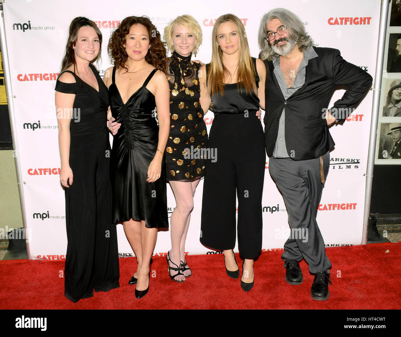 Sandra Oh, Anne Heche, Alicia Silverstone and Onur Tukel attends the premiere of Dark Sky Films' 'Catfight' - Stock Image