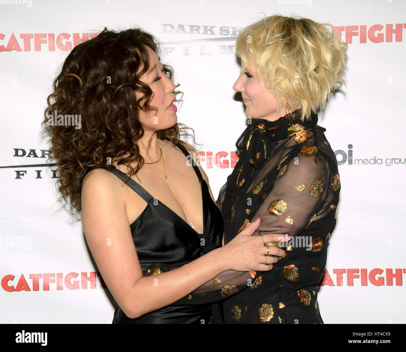 Sandra Oh and Anne Heche attends the premiere of Dark Sky Films' 'Catfight' at Cinefamily on March 2, - Stock Image
