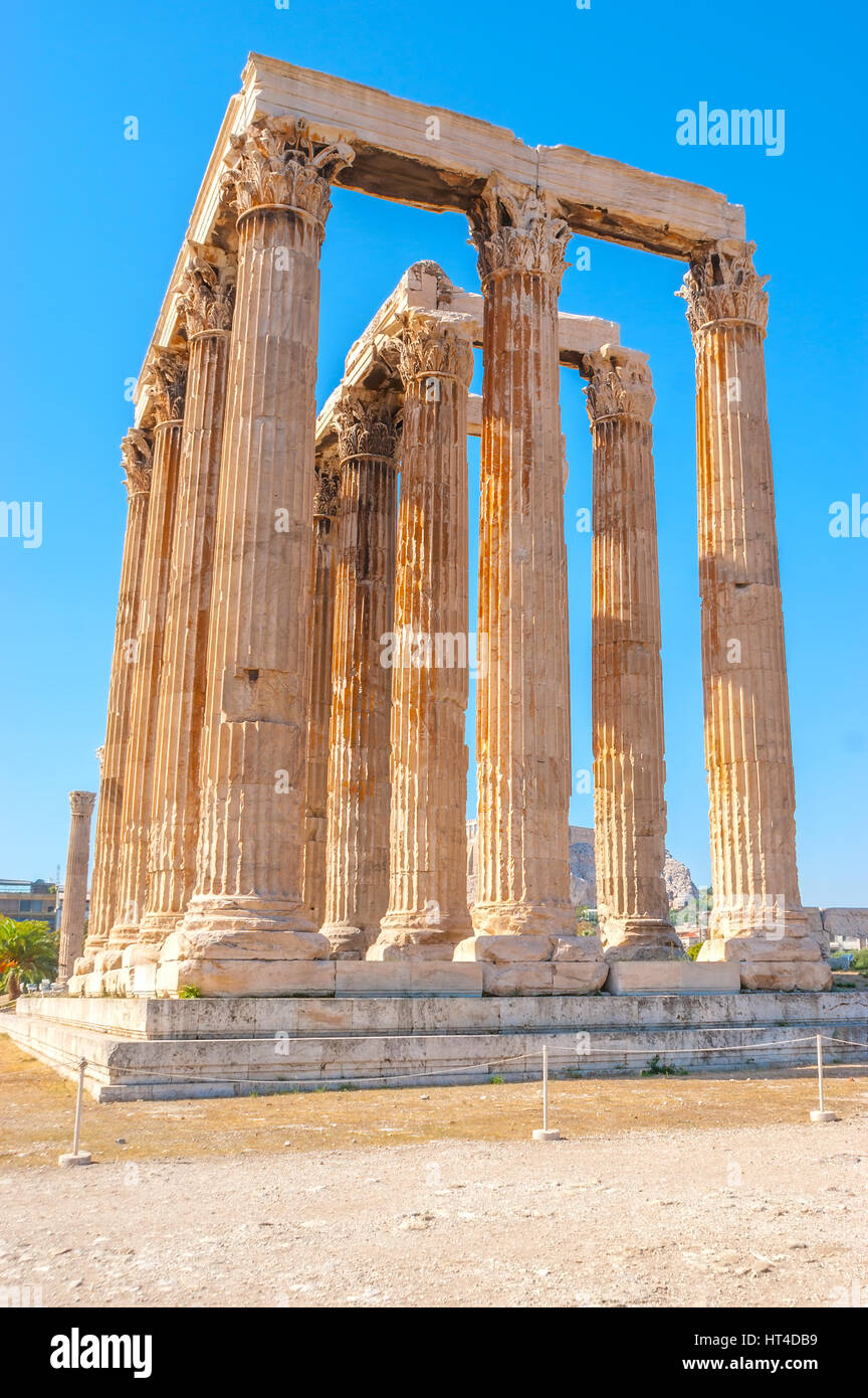The ruins of Olympian Zeus Temple is one of the most popular archaeological sites in Athens, Greece - Stock Image