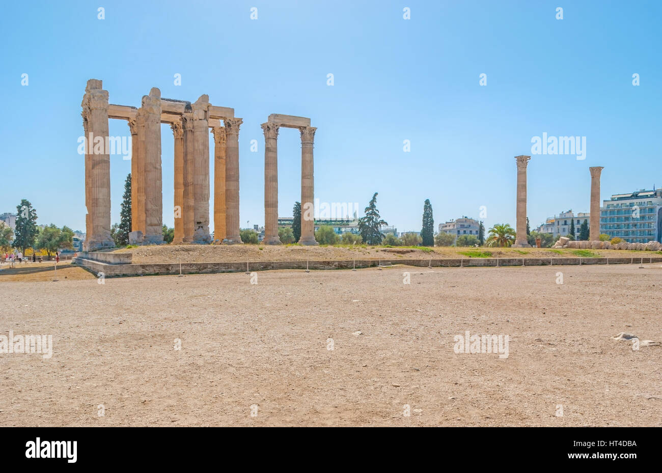 The archeological site of the Temple of Olympian Zeus with preserved colonnades, Athens, Greece - Stock Image