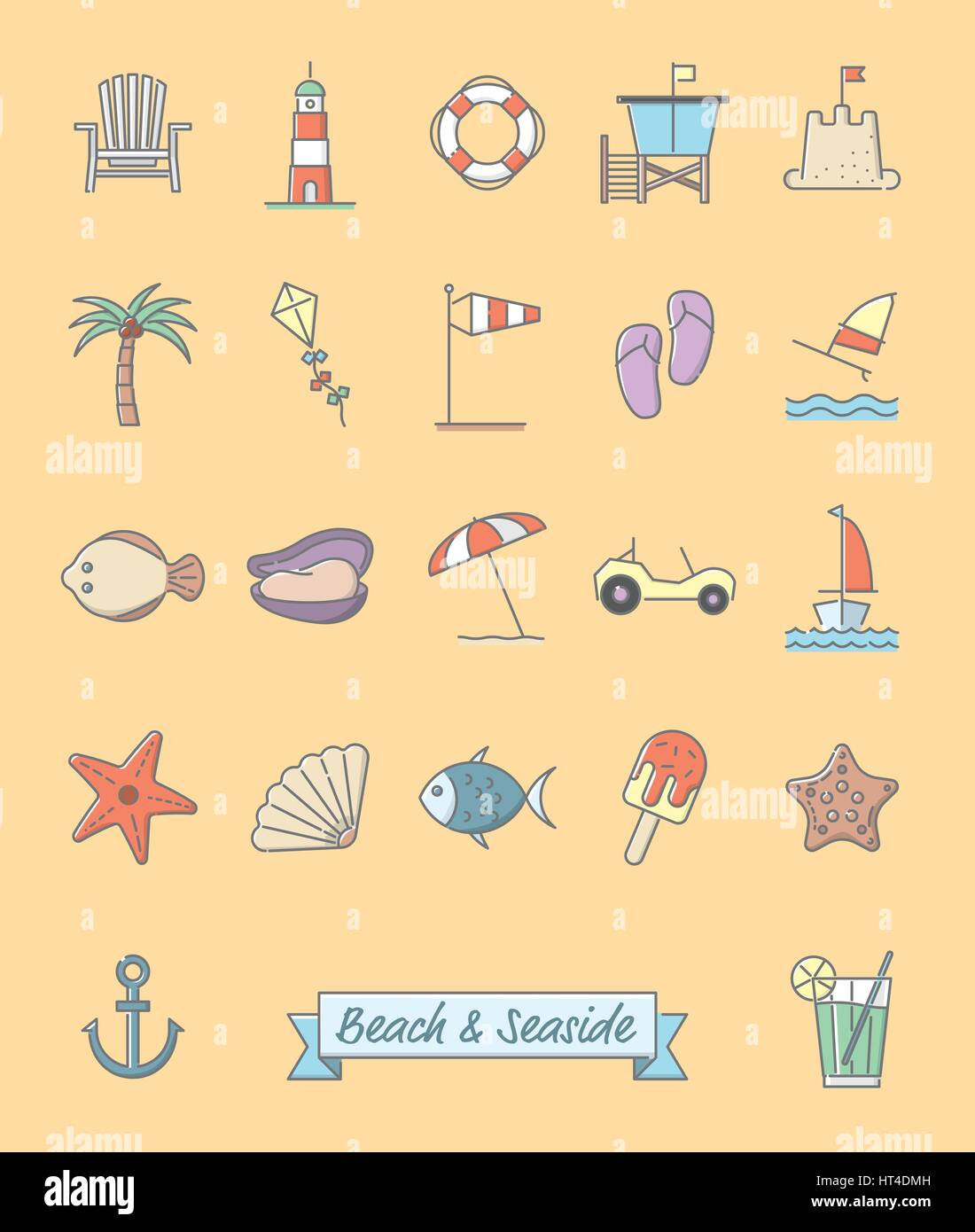 Collection of 22 beach and seaside related symbols, gray outline and pastel color fill - Stock Vector