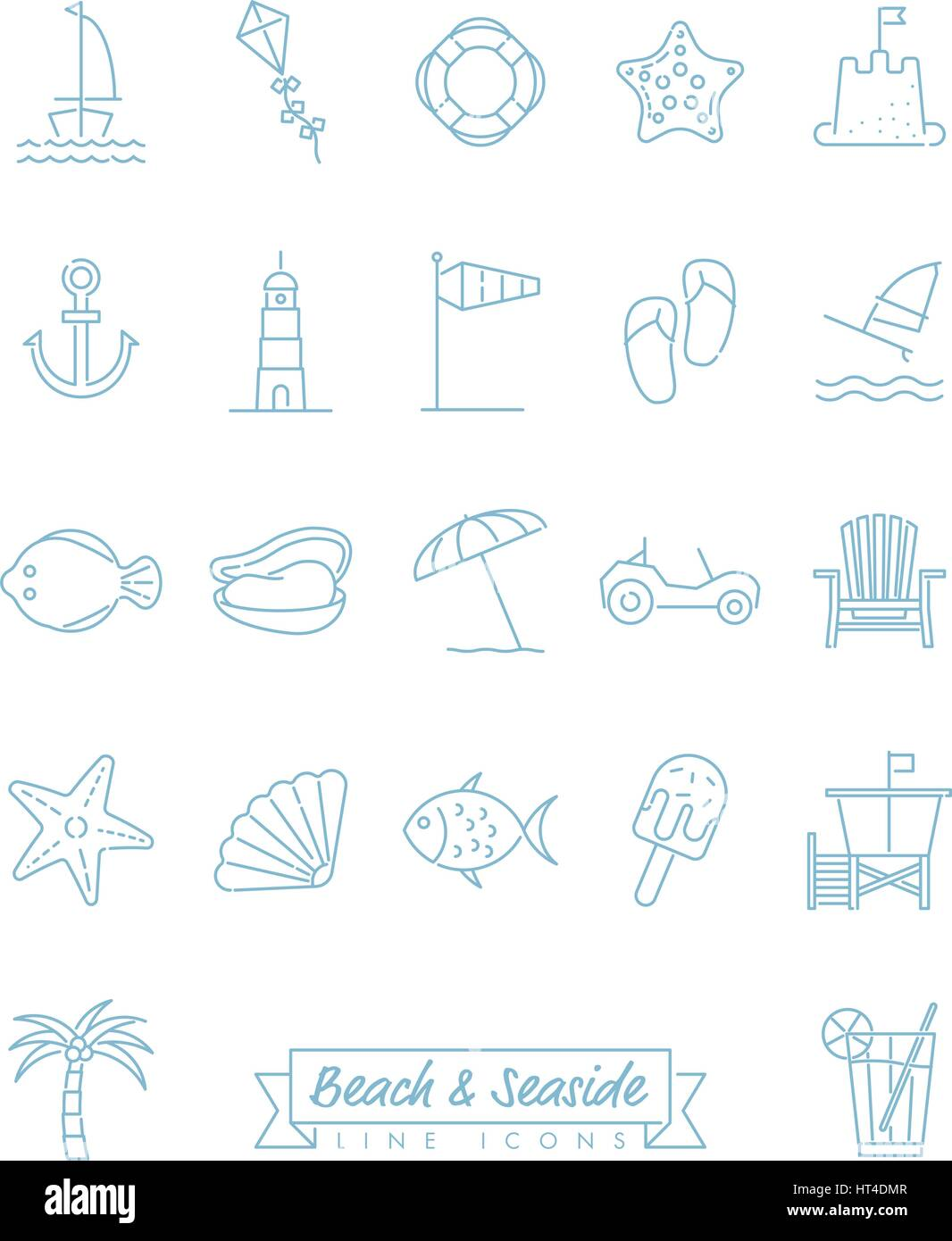 Collection of 22 light blue beach and seaside related symbols - Stock Vector