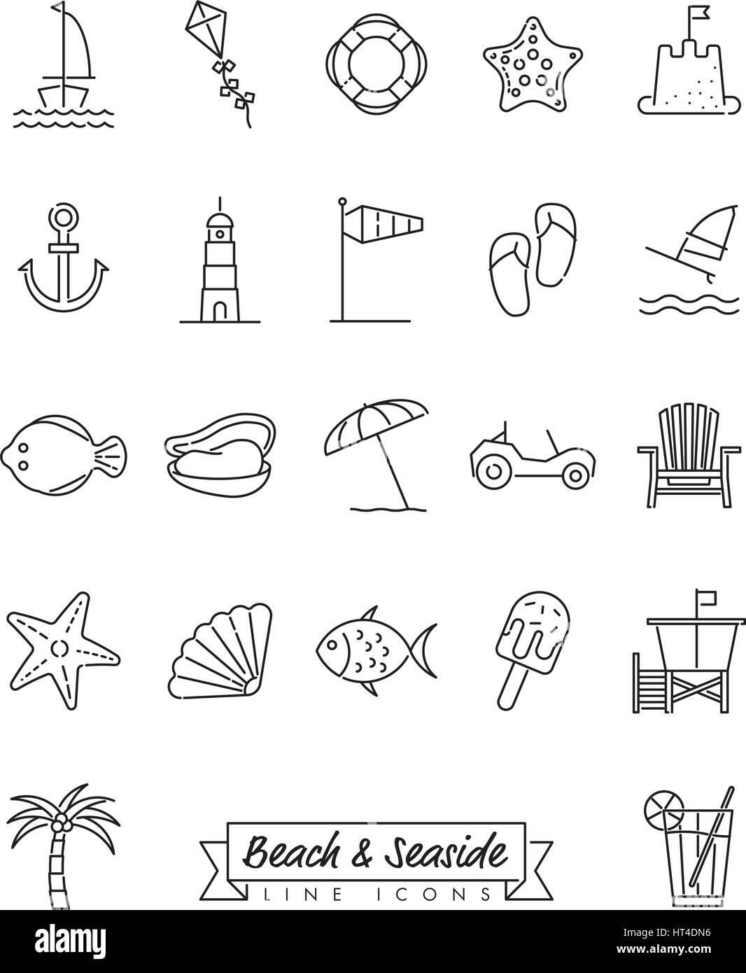Collection of 22 beach and seaside related symbols Stock Vector