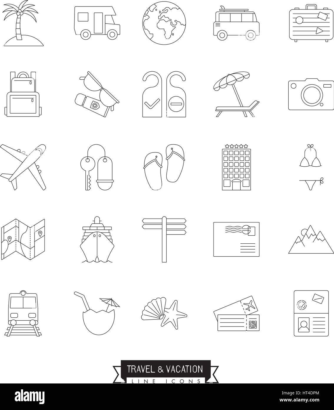 Collection of travel and vacation vector  line icons - Stock Vector