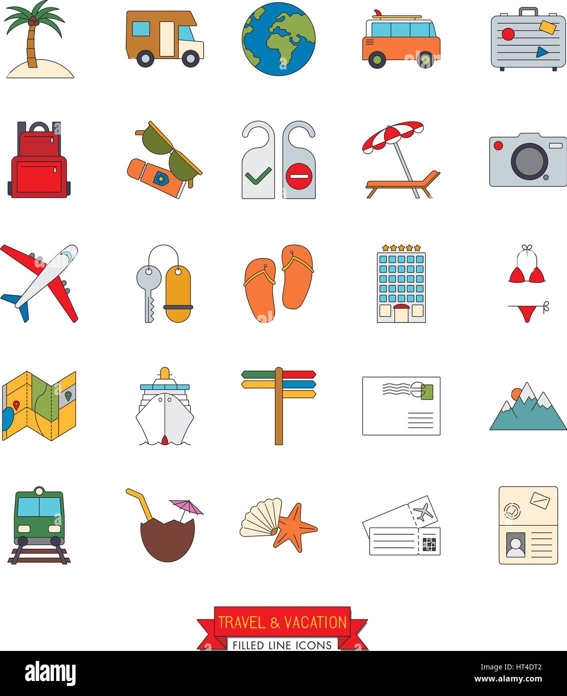 Collection of travel and vacation vector line icons with color fill - Stock Vector