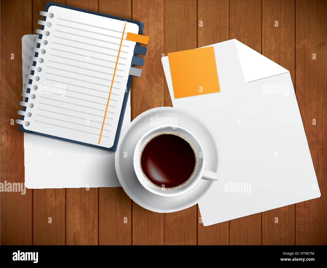 Coffee, notebook and paper on wooden table, vector illustration - Stock Vector