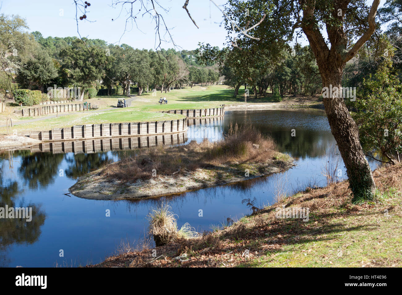 The 18 holes par 72 golf course of Seignosse (Landes - France). Hilly and constructed with lake and pond hazards, - Stock Image