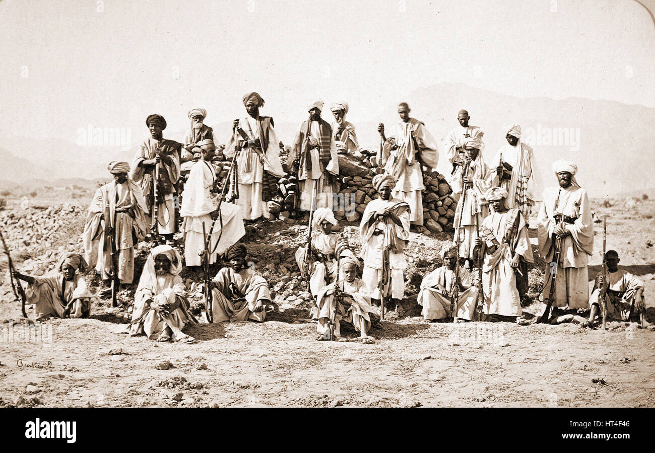 Group of Afridi fighters in 1878 - Stock Image