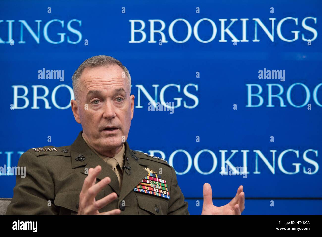 U.S. Joint Chiefs of Staff Chairman Joseph Dunford speaks at the Brookings Institution February 23, 2017 in Washington, - Stock Image