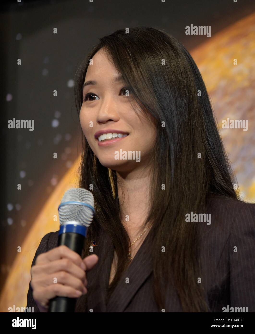 NASA Public Affairs Officer Felicia Chou moderates a TRAPPIST-1 planets briefing at the NASA Headquarters February - Stock Image
