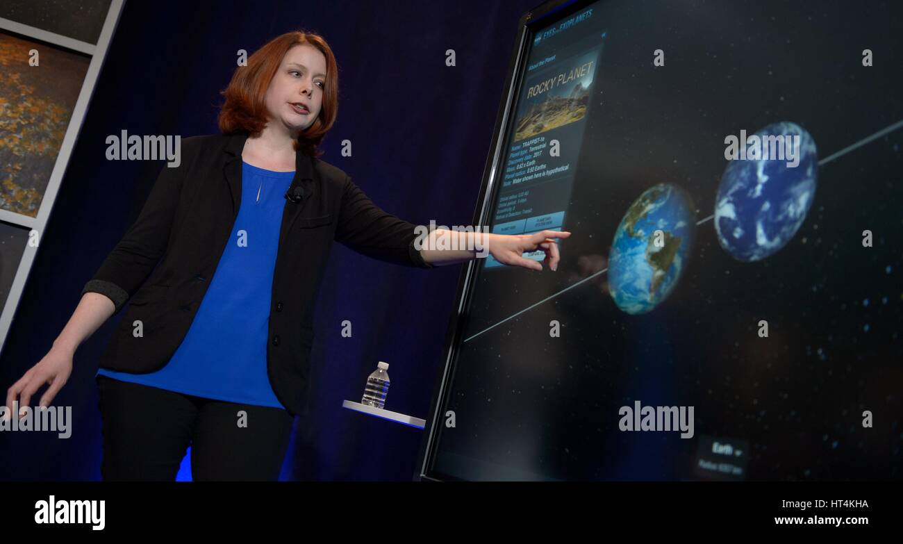 Space Telescope Science Institute Astronomer Nikole Lewis presents research findings during a TRAPPIST-1 planets - Stock Image
