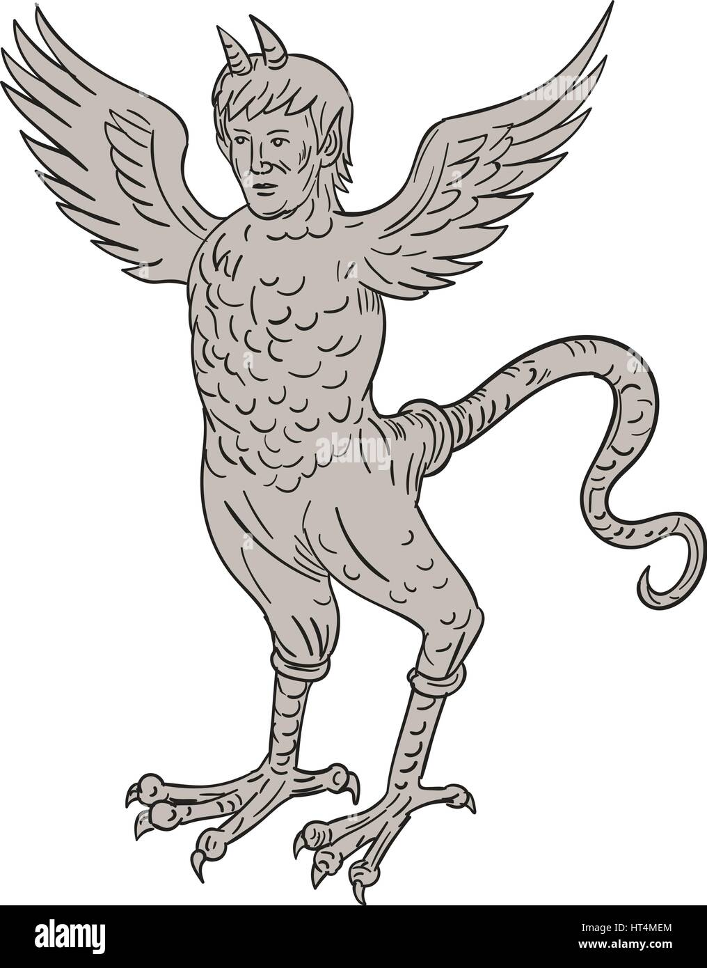 Drawing Sketch Style Illustration Of An Ancient 16th Century Monster With Horned Human Head Body Eagle And Serpentine Tail Standing Viewed From