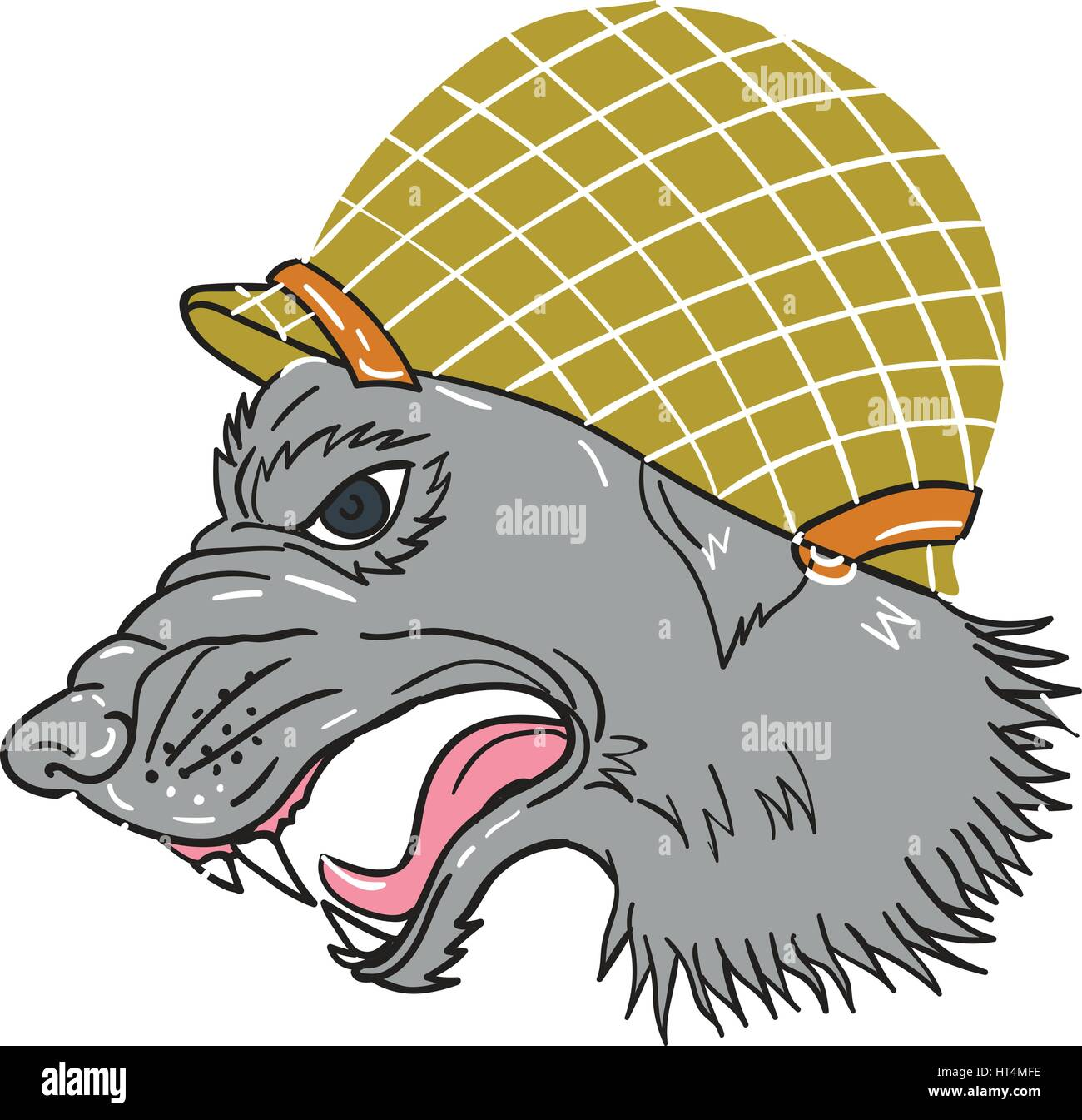 Drawing sketch style illustration of grey wolf head wearing world war two helmet growling viewed from the side set - Stock Vector