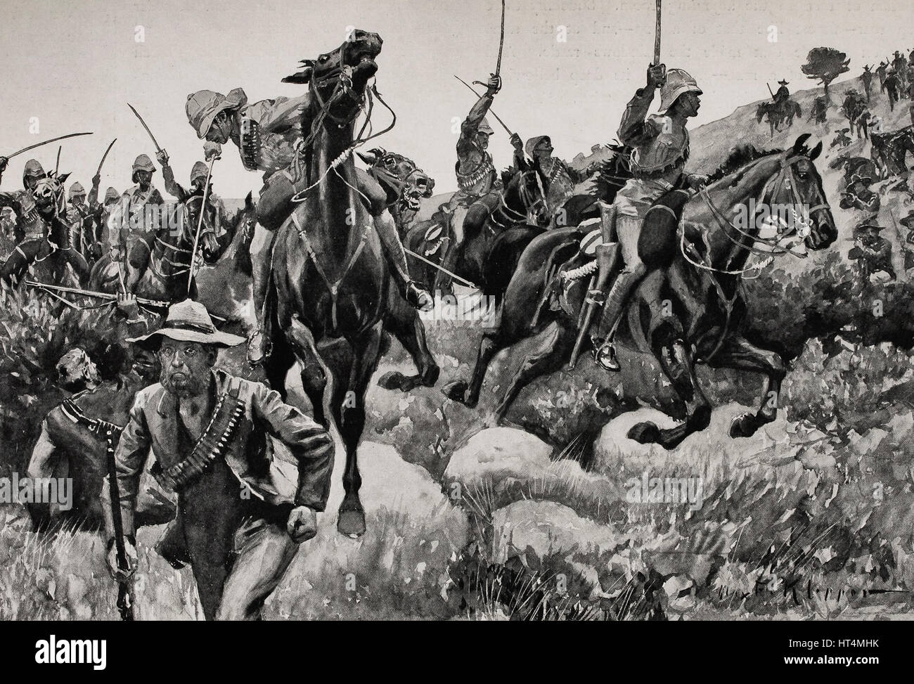 British lancers cutting off retreat of the Boers after the Battle of Elandslaagte, October 21, 1899 - Stock Image