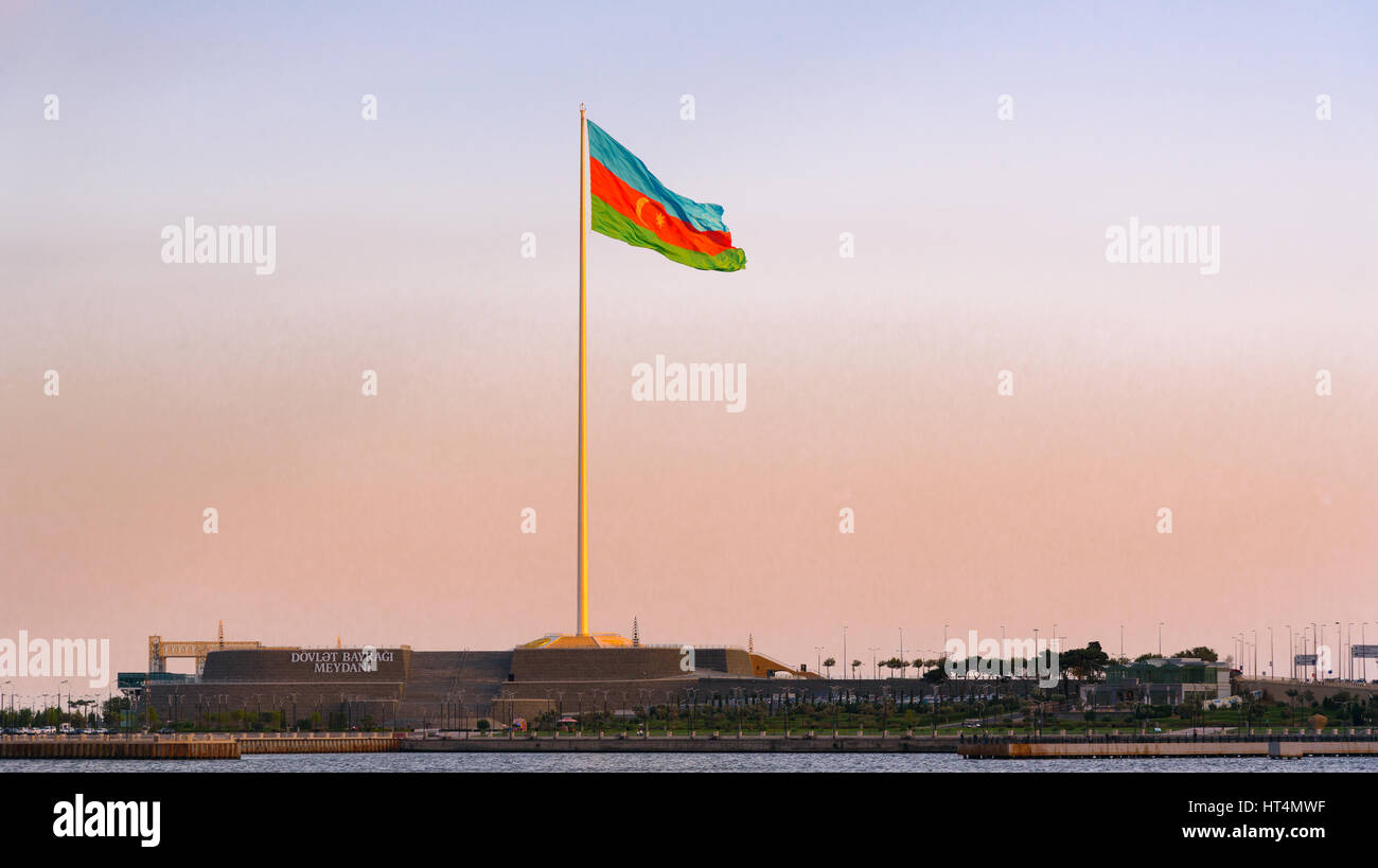 Baku, Azerbaijan - September 10, 2016: View of National Flag Square on sunset. Flag measuring 70 by 35 metres flies - Stock Image