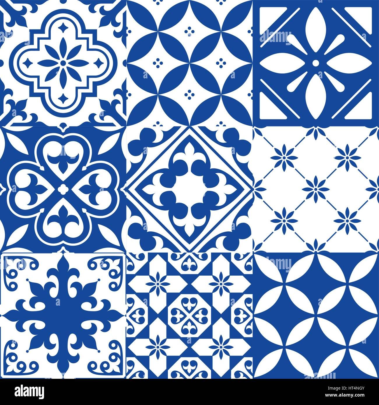 Spanish Tiles Moroccan Tiles Design Seamless Navy Blue