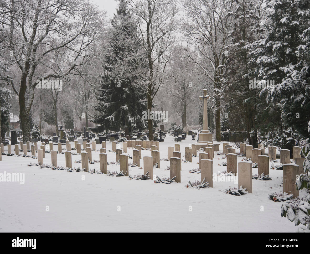 British war graves from WWII has their own section and a tall cross monument at the Vestre Gravlund cemetery in Stock Photo
