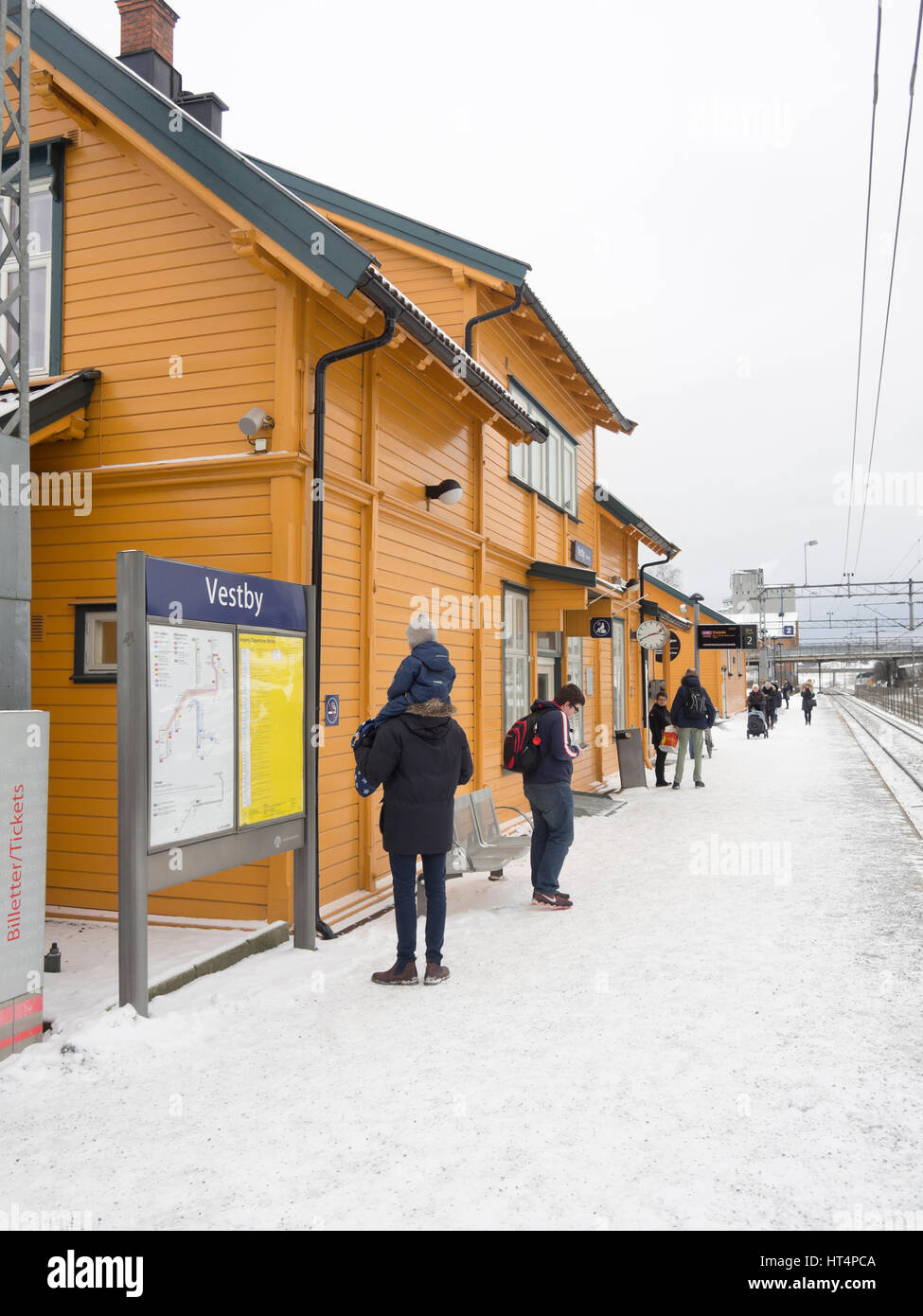 Vestby railway station in Akershus, within easy commuting distance from Oslo Norway, trains as local public transport - Stock Image