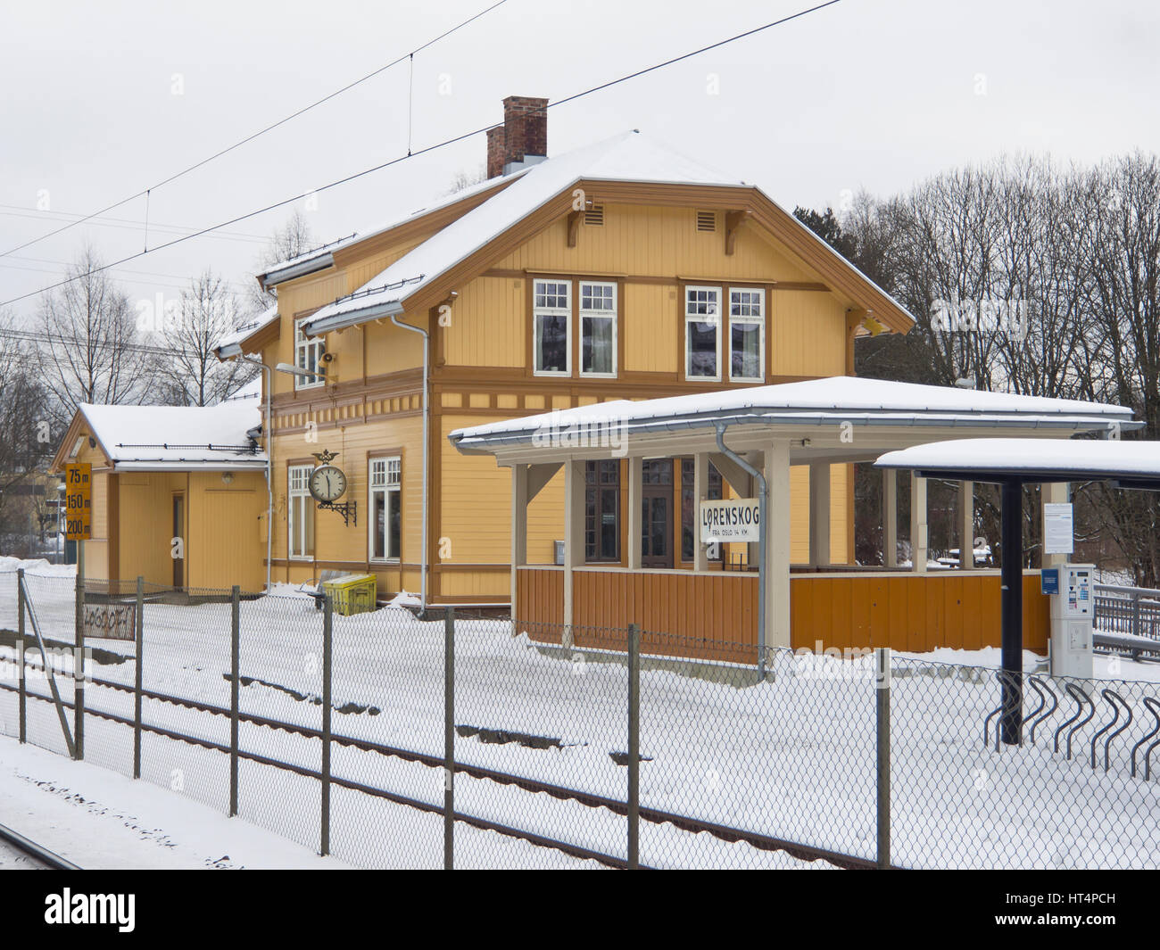 Lørenskog railway station in Akershus,  easy commuting distance from Oslo Norway, trains as local public transport - Stock Image