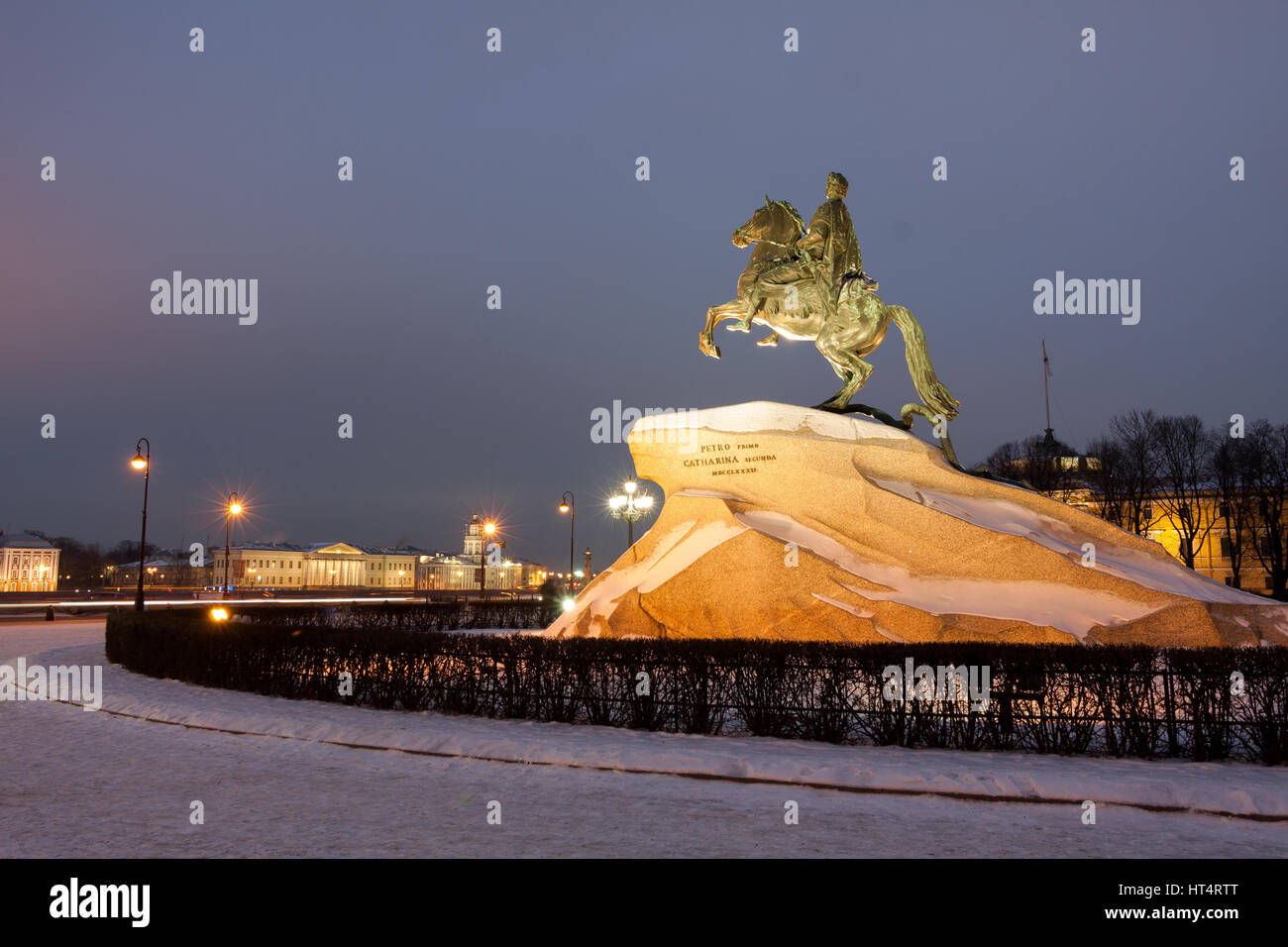 Peter the Great monument in winter, the Bronze Horseman, St. Petersburg , Russia - Stock Image